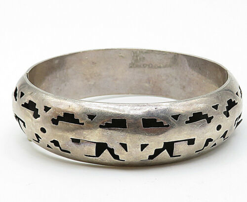 JLA MEXICO 925 Silver - Vintage Cutout Pattern Round Bangle Bracelet - B5316