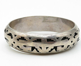 JLA MEXICO 925 Silver - Vintage Cutout Pattern Round Bangle Bracelet - B5316 image 2