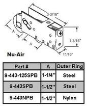 """STB Sliding Glass Door Roller, Steel Wheel, 1-1/2"""" Diameter, 11/16"""" Wide... - $21.73"""