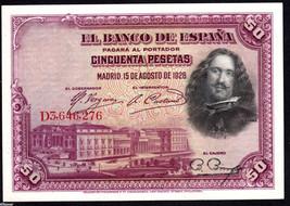 Spain 1928, 50 Pesetas, Diego Velazquez , Banknote XF - $6.22