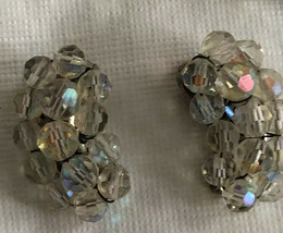 Vintage AB Austrian Crystal Cluster clip on  Earrings - $22.05
