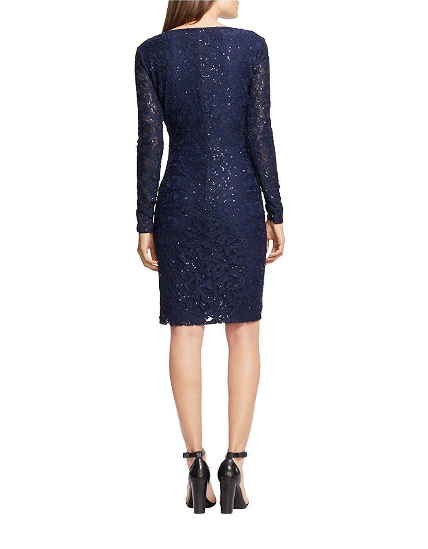 Lauren Ralph Lauren Women's Sz 12P Sequined Lace Surplice Navy Dress 2935-3