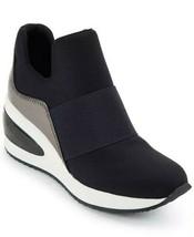 Dkny Borg Wedge Slip On Sneakers Black Gunmetal Size Us 5 Eu 35 Uk 2.5 - $90.00