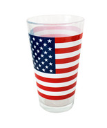 Patriotic American Flag Stars and Stripes Pint Glass Clear - $11.98