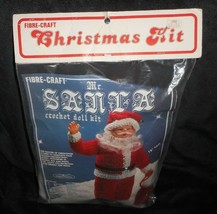 New Vintage 1982 FIBRE-CRAFT Christmas Kit Mr Santa Claus Crochet Doll # 1420 - $31.09