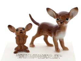 Hagen-Renaker Miniature Ceramic Dog Figurine Chihuahua Mama and Tiny Pup Brown