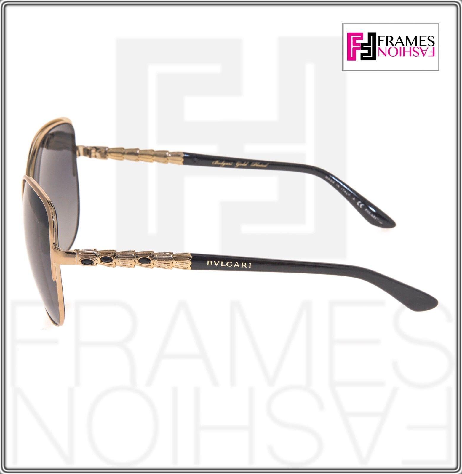 BVLGARI Le Gemme BV6078KB Black Gold 18K Plated POLARIZED Sunglasses 6078 Women image 2