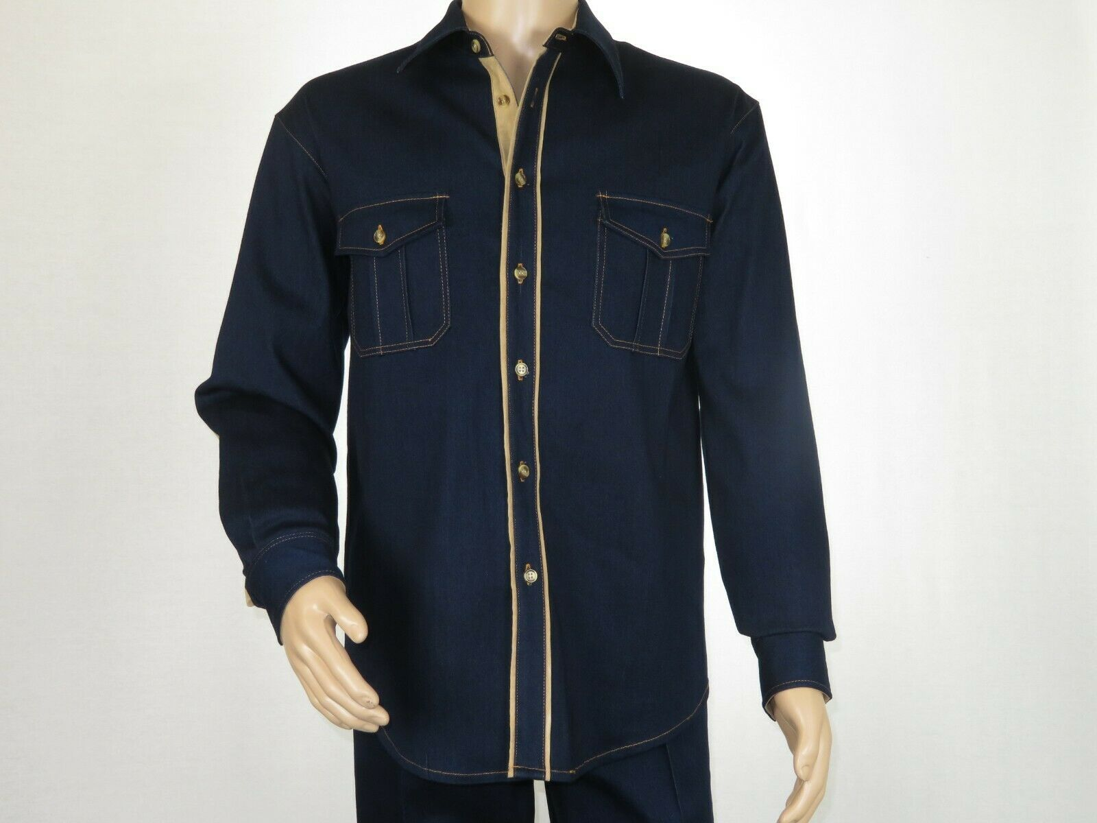 Primary image for Mens ROYAL DIAMOND 2pc Walking Leisure suit Denim Cotton Blend JSS-1 Navy Blue