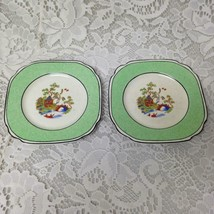 Vintage, Rare, Empire Ware, England, Green Trim Gaudy Blue Willow, 2pc 5in Plate - $42.70