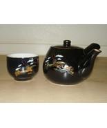 Vintage 80 Somayaki Japanese Tea Pot Sake Set Black Gold Pheasant Gold T... - $29.65