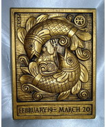 Vintage PISCES Gold Carved Wooden Wall Hanging Astrology Plaque w/ Neptune - €22,37 EUR