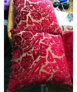 Pair of Red Cut Velvet Down Filled Decorative Throw Pillows  18 x 18 - $59.95