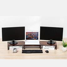 HUVIBE Bamboo Dual Monitor Stand Riser with Length and Angle Adjustable, 3 Shelf image 6