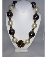 Vintage Silver Tone Brown White and Golden Chunky Beaded Necklace (1899) - $15.00