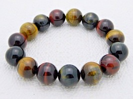 Vintage Genuine Tiger's Eye Polished Round Bead Beaded Stretch Bracelet - $29.70