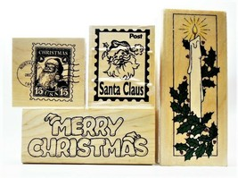 NEW STAMPS! Set of 4 Christmas-Themed Rubber Stamps Mounted on Wood