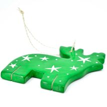 Undugu Society Hand Carved Soapstone Green Reindeer Christmas Holiday Ornament image 3
