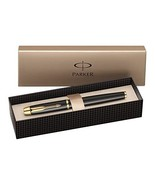 Parker S0856280 IM Fountain Pen, Medium Nib - Black Lacquer with Gold Plated Tri - $83.00