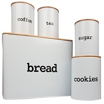 Bread Box Extra Large and 4 Piece Kitchen Canister Set w Bread Cutting B... - $38.57
