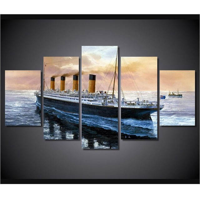 Used, Titanic Ship Seascape Movie  5 Piece Canvas Wall Art Painting Print Home Decor for sale  USA