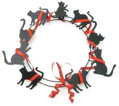 Vintage Department 56 Black Cat Metal Halloween Wreath Ribbon Door Reef - $29.65