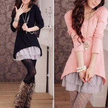Women Autumn And Winter Lace Hem Two-piece Long Knit Dress T-shirt