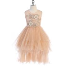 Vintage Rose Flower Lace Applique Illusion Neckline Tiered Layers Hi Lo Dress - $60.00