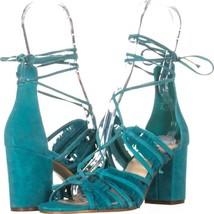 Nine West Genie Lace Up Block Heel Dress Sandals 643, Dark Turquoise, 6.... - $30.71