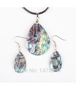New Natural Abalone Shell Water Drop Blue Thin Beads Pendant Necklac & E... - $13.87