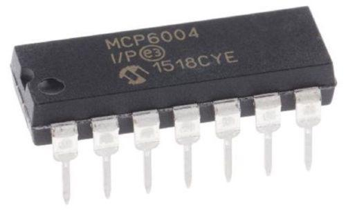 Microchip MCP6004-E/P MCP6004 Quad 1 MHz Low-Power Operational Amp (Pack of 1)
