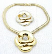 VTG CROWN TRIFARI Gold Tone Clear Rhinestone Rose Flower Pin Brooch Neck... - $173.25