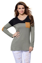 Black Grey Color Block Patch Insert Long Sleeve Blouse Top - $16.96