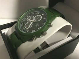 I.N.C. Men's Matte Olive Green Silver Faux Sub Dials Link bracelet watch 42mm image 3
