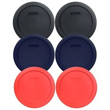 "Pyrex 7201-PC 6"" 4 Cup Lids for Glass Bowl 2-Black, 2-Blue and 2-Red - $11.03"