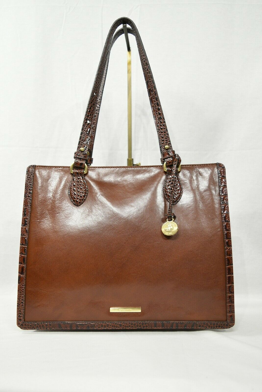 NWT Brahmin Medium Camille Leather Tote/Shoulder Bag in Cognac Quincy image 2