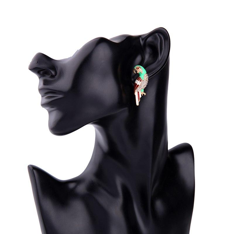 Ion crystal enamel parrot bird earrings for women symmetric personalized stud earrings jewelry 2