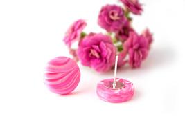 Minimal silver studs/ pink minimal studs/ pink white studs/ everyday ear... - $7.00