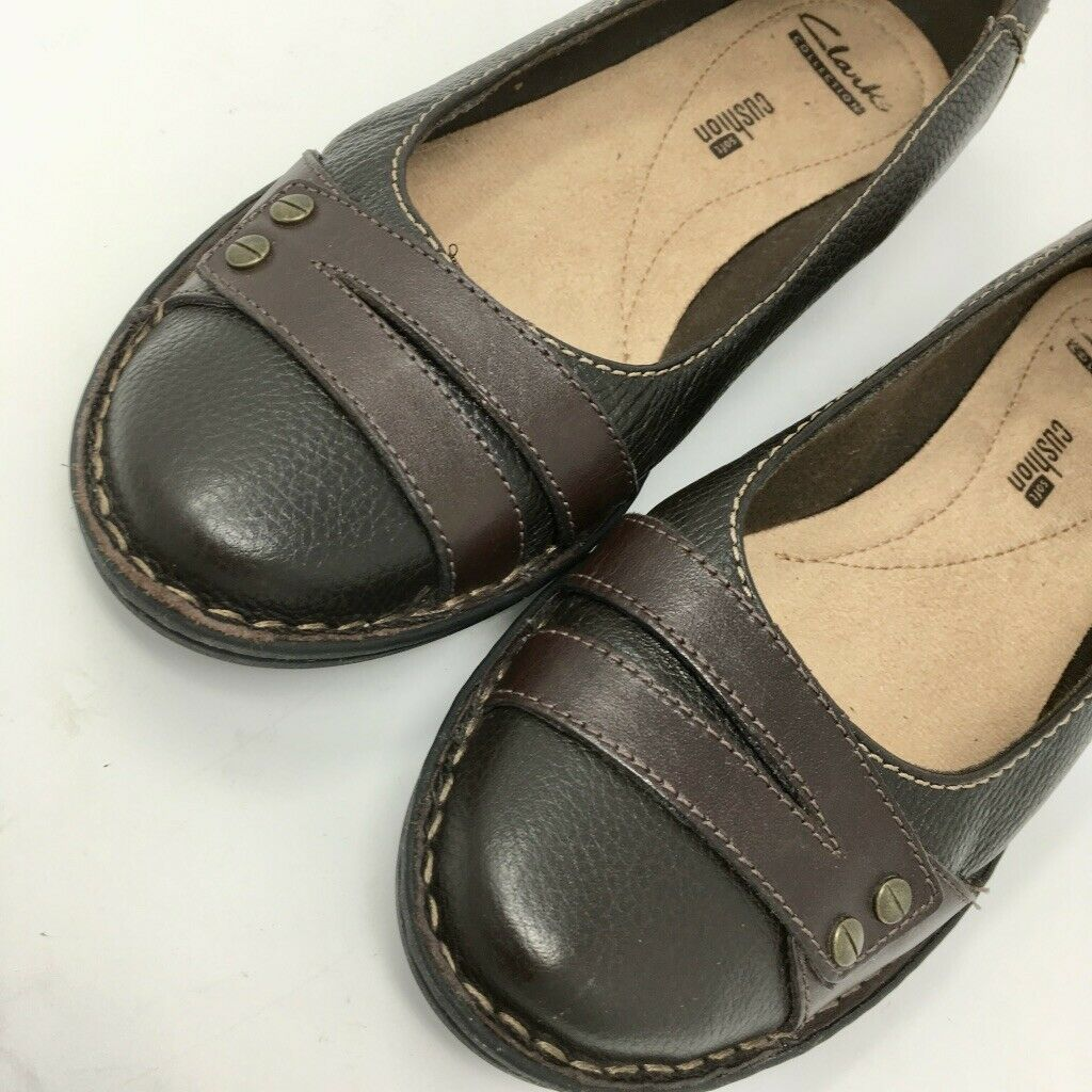 Clarks Women's Leather Flats, Size 7.5 M, Brown, Soft Cushion Insole