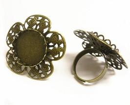 2pc antique bronze flower adjustable ring shanks-9264 - $1.25