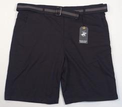 Beverly Hills Polo Club Black Flat Front Shorts & Belt Men's NWT - $37.49