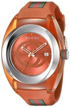 Gucci Orange Sync Xxl Stainless Steel With Rubber Bracelet Watch Ya137108 - $295.00