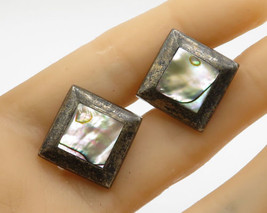 ALPACA 925 Sterling Silver - Vintage Mother Of Pearl Inlay Cuff Links -T... - $42.84
