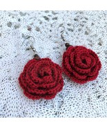 Red Rose Earrings crocheted from cotton with wood beads, Vintage jewelry - $16.99