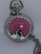 Watch Silver Necklace Locket Mini Pocket  Watch Style Mirror Peacock  30... - $22.00
