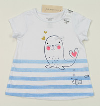 First Impressions New Infant Girls Seal Print White T Shirt Tee 18 M - $8.90