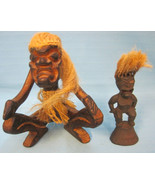 Tribal Africa Tiki Art Figurines Hand Carved Statue Wood Brown Lot of 2  - $27.50