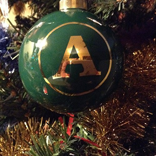Letter A in Gold on Green Ceramic Monogram Ornament