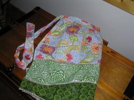 Retro Shades of Green Orange Red & Blue Floral Layered Cotton Half Apron... - $9.49