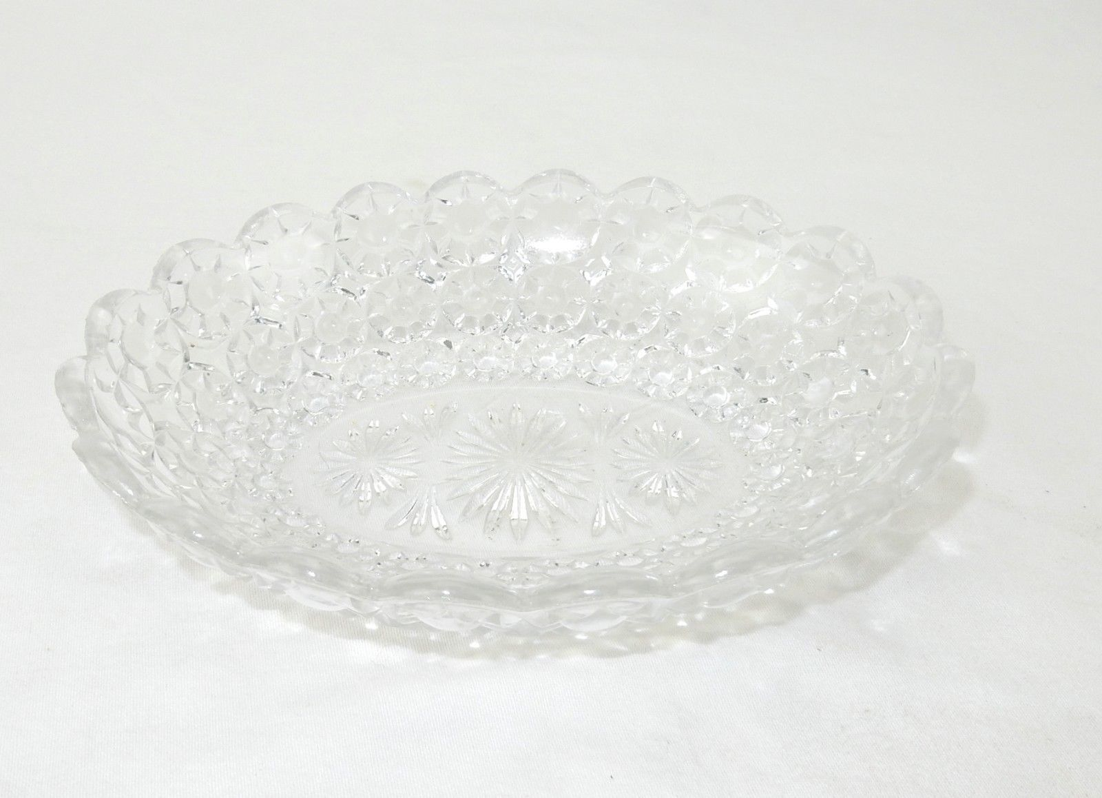 "Primary image for Pressed Clear Glass Candy/Nut Bowl, Serving Dish, Relish Dish, Oval 8"" x 6"""