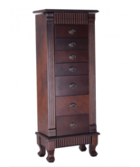Wooden Jewelry Cabinet Armoire Storage Organizer 7 Drawers Stand Chest B... - $204.97